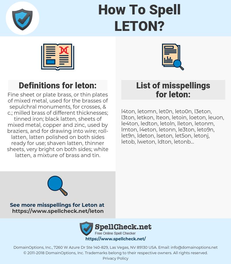 leton, spellcheck leton, how to spell leton, how do you spell leton, correct spelling for leton