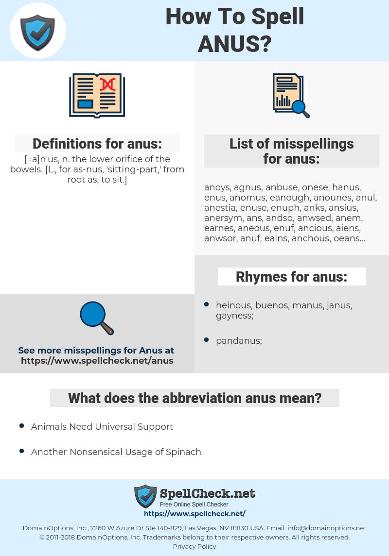 anus, spellcheck anus, how to spell anus, how do you spell anus, correct spelling for anus