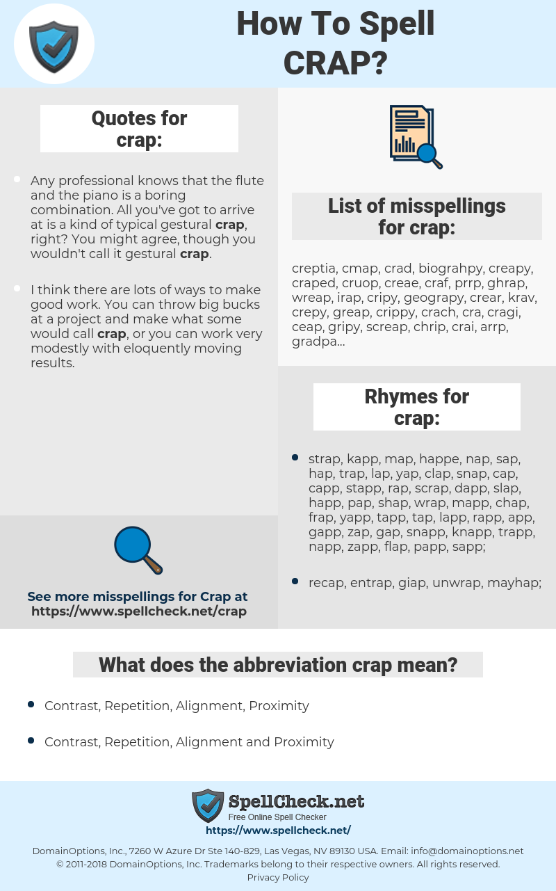 crap, spellcheck crap, how to spell crap, how do you spell crap, correct spelling for crap