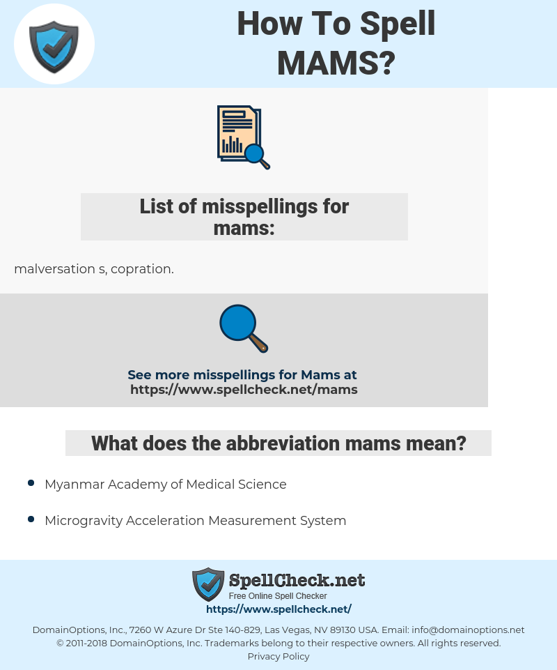 mams, spellcheck mams, how to spell mams, how do you spell mams, correct spelling for mams