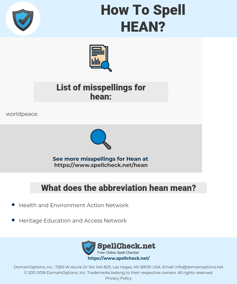hean, spellcheck hean, how to spell hean, how do you spell hean, correct spelling for hean