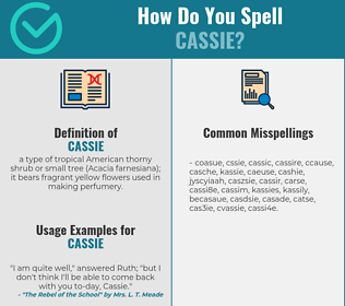 Correct spelling for cassie