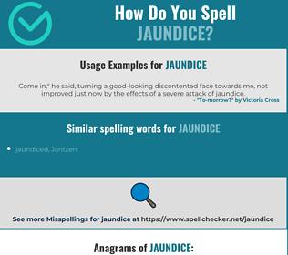 Correct spelling for jaundice