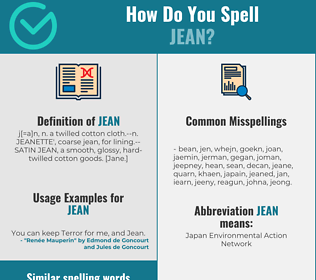 Correct spelling for jean
