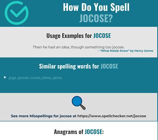 Correct spelling for jocose