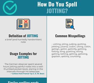 Correct spelling for jotting