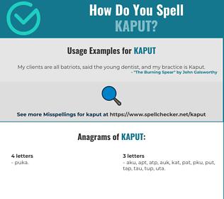 Correct spelling for kaput