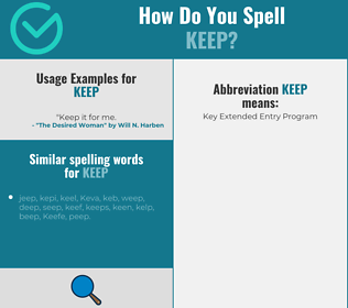 Correct spelling for keep