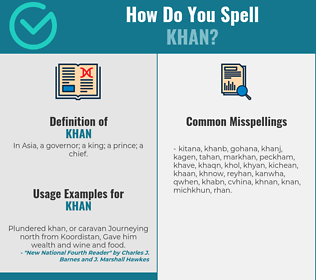 Correct spelling for khan