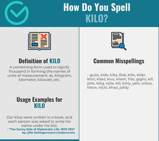 Correct spelling for kilo