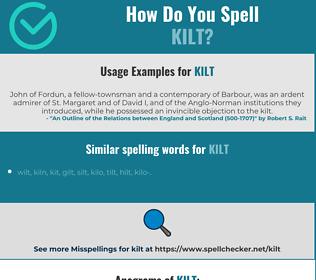 Correct spelling for kilt