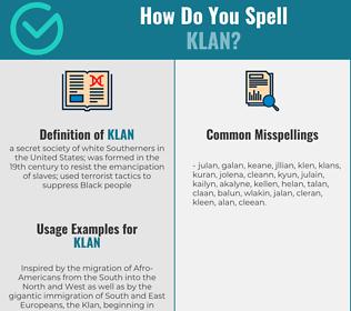 Correct spelling for klan