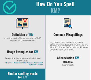 Correct spelling for km
