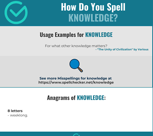Correct spelling for knowledge