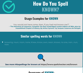 Correct spelling for known
