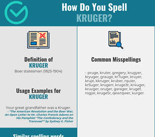Correct spelling for kruger