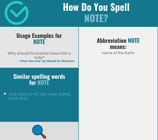 Correct spelling for note