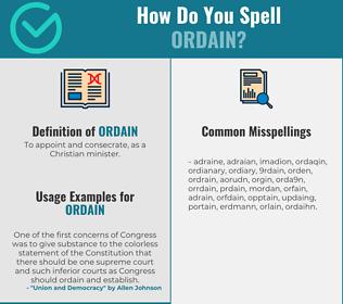 Correct spelling for ordain