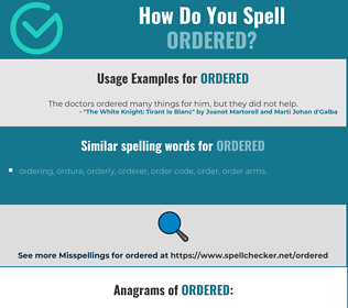 Correct spelling for ordered