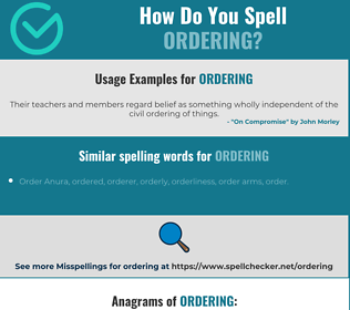 Correct spelling for ordering