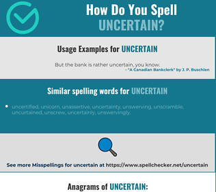 Correct spelling for uncertain