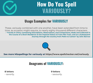 Correct spelling for variously