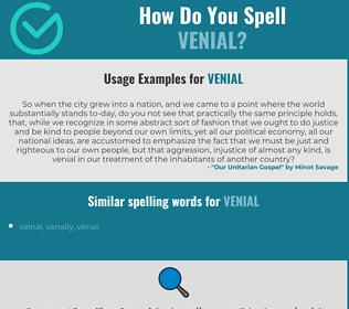 Correct spelling for venial