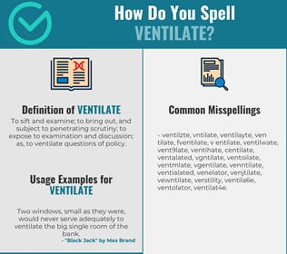 Correct spelling for ventilate