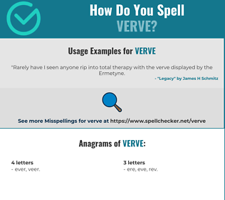 Correct spelling for verve