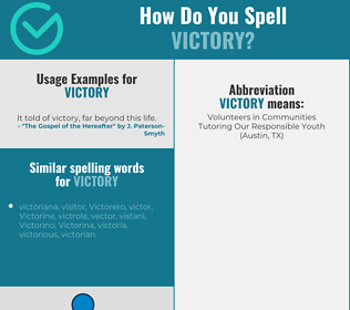 Correct spelling for victory