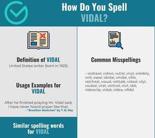 Correct spelling for vidal
