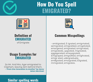 Correct spelling for Emigrated