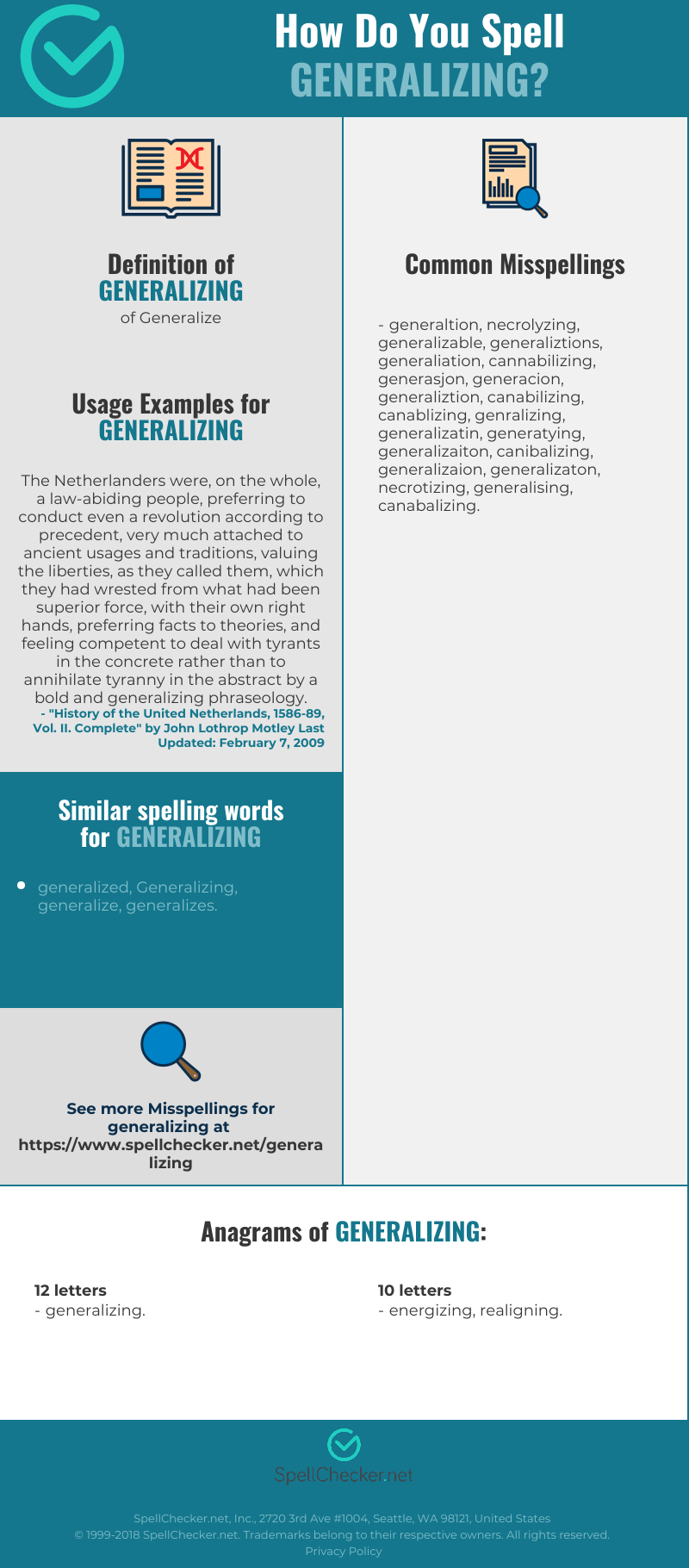 Correct spelling for Generalizing [Infographic