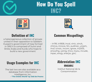 Correct spelling for Inc