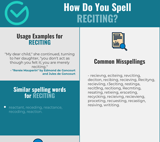 Correct spelling for Reciting