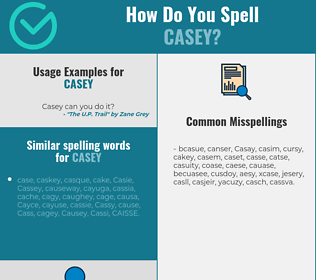 Correct spelling for Casey