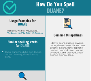 Correct spelling for Duane