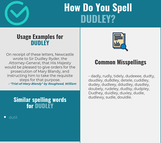 Correct spelling for Dudley