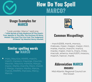 Correct spelling for Marco