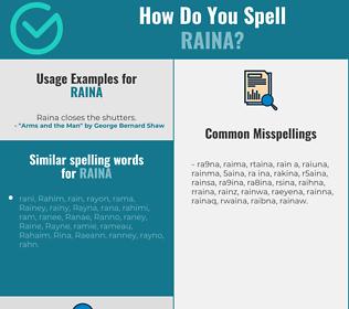 Correct spelling for Raina