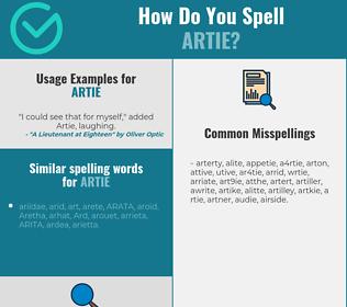Correct spelling for Artie