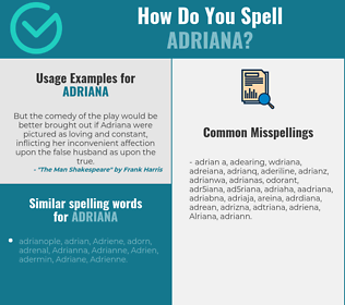 Correct spelling for Adriana