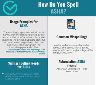 Correct spelling for Asha