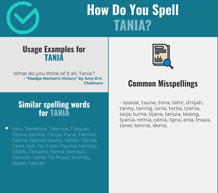 Correct spelling for Tania