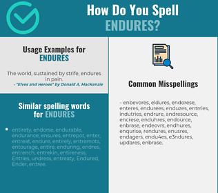 Correct spelling for endures