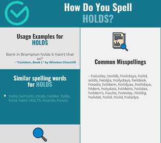 Correct spelling for holds