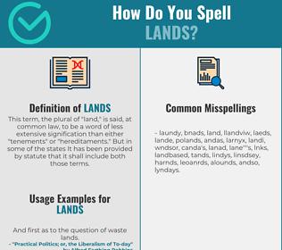 Correct spelling for lands