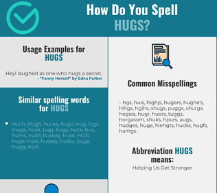 Correct spelling for hugs
