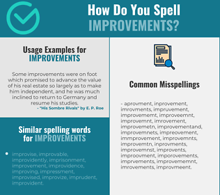Correct spelling for improvements