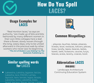 Correct spelling for laces
